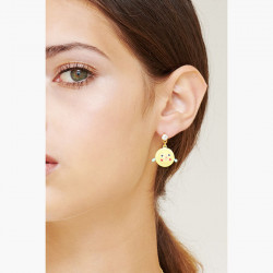 Boucles d'oreilles ballerine sur pointe tutu pavé de strass azur