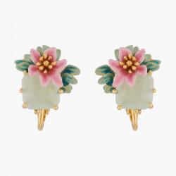 Boucles D'oreilles Clip Boucles D'oreilles Clips Fleurs De Laurier Rose Et Pierre Carré90,00€ ALPE109C/1Les Néréides