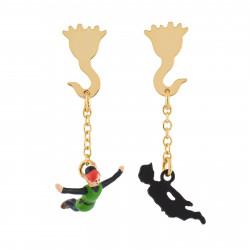 Boucles D'oreilles Boucles D'oreilles Asymétriques Peter Pan Volant Dans Les Airs Et Son Ombre