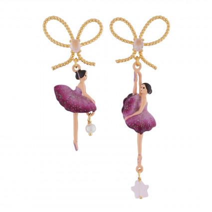 Boucles D'oreilles Pendantes Boucles D'oreilles Asymétriques Ballerine Prune90,00€ AIDD108T/1Les Néréides
