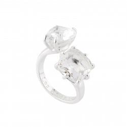 Bagues Ajustables Bague Toi Et Moi La Diamantine Silver Pierre Cœur Et Carrée70,00€ AILD618/3Les Néréides