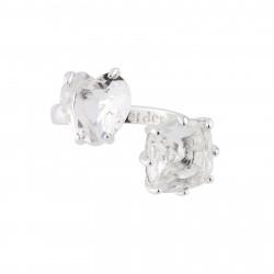 Bagues Ajustables Bague Ajustable Toi Et Moi Pierres Cœur Et Carré La Diamantine Silver Cristal70,00€ AILD618/3Les Néréides
