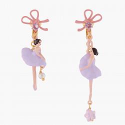 Boucles D'oreilles Clip Boucles D'oreilles Asymétriques Clip Ballerine Et Ruban Lilas90,00€ ALDD108C/1Les Néréides