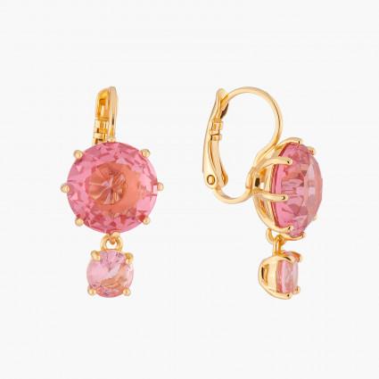 6 pink stones hoops