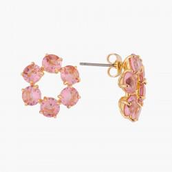 Boucles D'oreilles Creoles Petites Créoles Tiges 6 Pierres La Diamantine Rose Pêche80,00€ ALLD142T/1Les Néréides