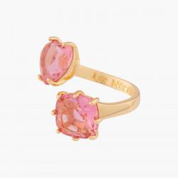 Bagues Ajustables Bague Toi Et Moi Pierres Cœur Et Carré La Diamantine Rose Pêche70,00€ ALLD618/1Les Néréides