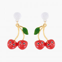 Smiling Cherries Stud Earrings