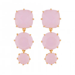 Earrings With 3 Pink Stones