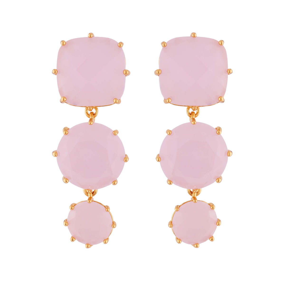 Earrings With 3 Pink Stones Les Néréides