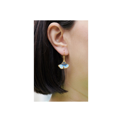 Boucles d'oreilles pierre ronde marbrée