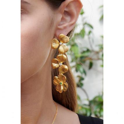 Boucles d'oreilles clip dragon et verre taillé