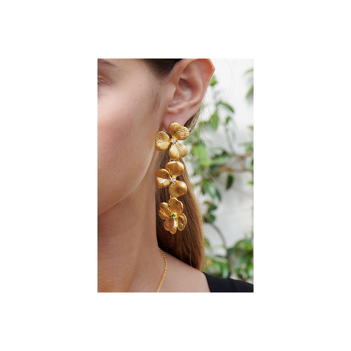 Dragon and faceted glass clip earrings