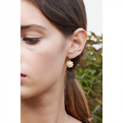 Bow, rosebud and two-colored pearl semi rigid bracelet