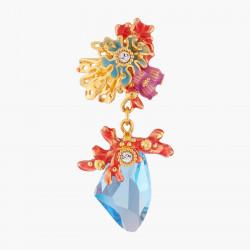 Boucles D'oreilles Clip Boucles D'oreilles Clips Corail Et Cristal Bleue Lagon150,00€ ALPC104C/1Les Néréides