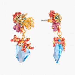 Boucles D'oreilles Pendantes Boucles D'oreilles Tiges Corail Et Cristal Bleue Lagon150,00€ ALPC104T/1Les Néréides