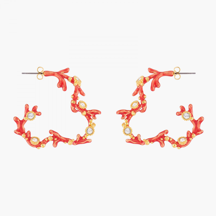 Boucles D'oreilles Creoles Créoles Tiges Corail Rouge Et Cristaux120,00€ ALPC106T/1Les Néréides