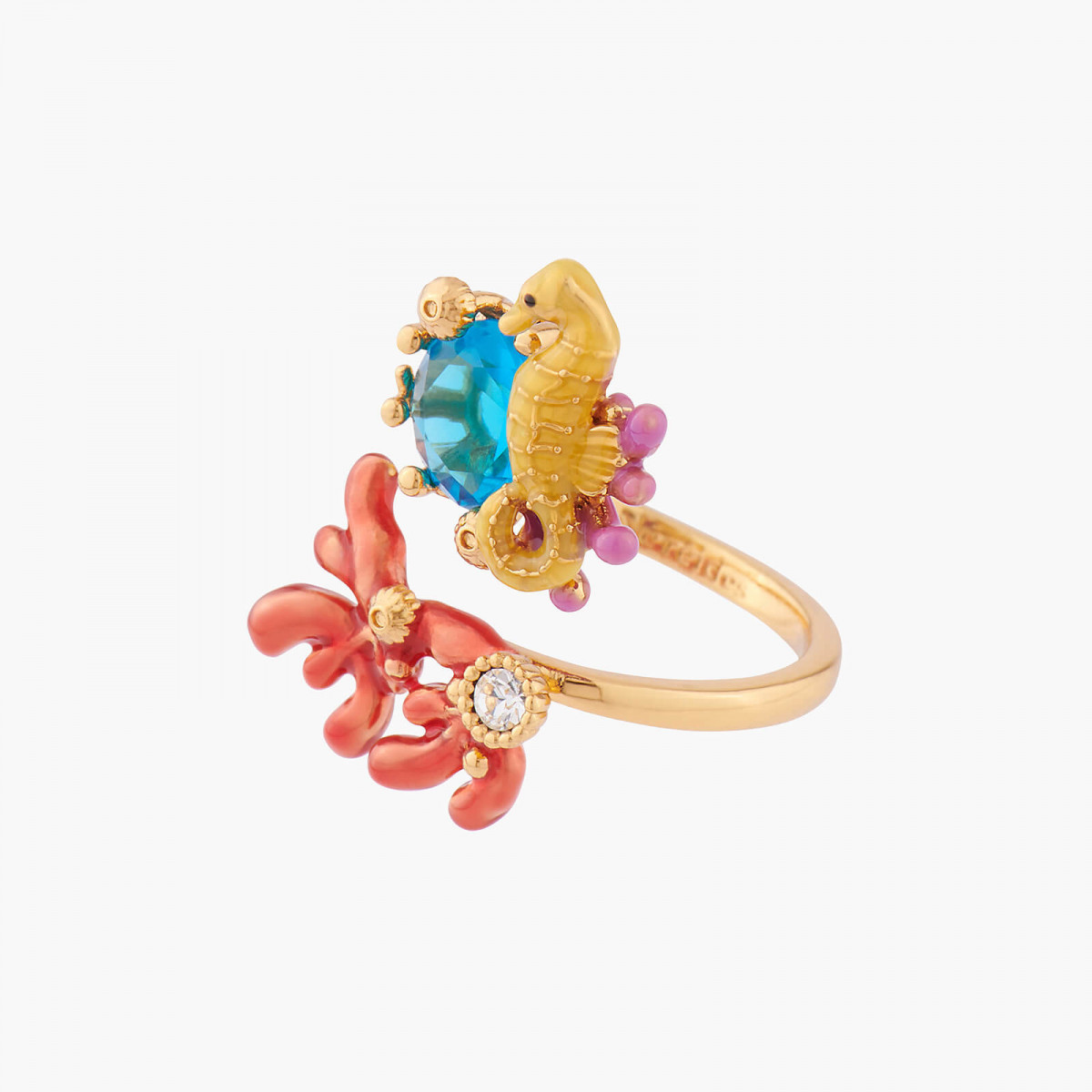 Curious dog and blue stone adjustable ring