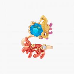 Bagues Ajustables Bague Ajustable Hippocampe Et Cristal Bleu Lagon95,00€ ALPC601/1Les Néréides