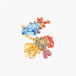 Boucles d'oreilles double pierre marbrée et bleue