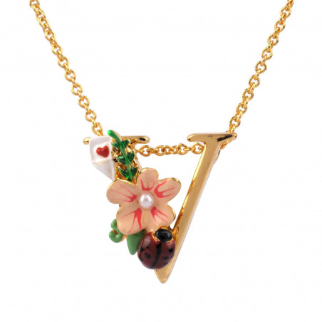 Pink flower and yellow buds necklace