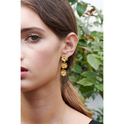 Boucles d'oreilles petite coccinelle, chaînes et petit coeur