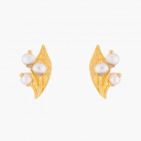 Boucles d'oreilles fleur tropicale et pierre reconstituée