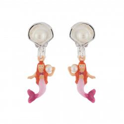 Boucles D'oreilles Boucles D'oreilles Clip Petite Sirène Et Coquillage Argenté
