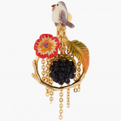 Boucles D'oreilles Clip Créoles Clips Rouge-gorge, Fleur Rouge, Fougère Et Mûre190,00€ AASB107C/1Les Néréides