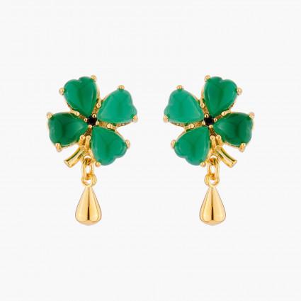 Boucles D'oreilles Pendantes Boucles D'oreilles Tiges Trèfle De Jade Et Goutte Dorée110,00€ ACAB102T/1Les Néréides
