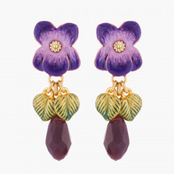 Violet and Stone Stud Earrings