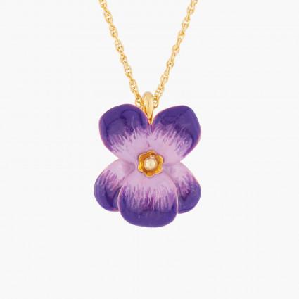 Violet And Flower Button Pendant Necklace Les Nereides