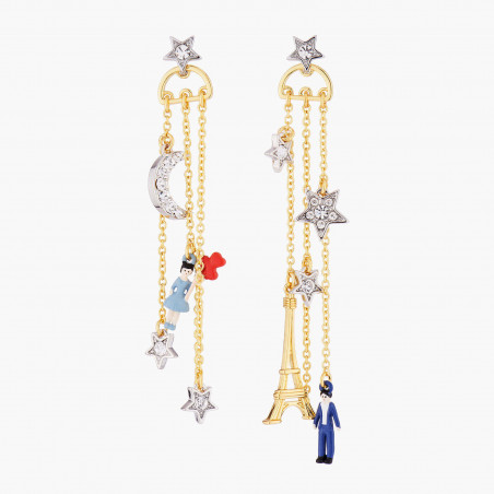Bird, branch of cherry tree and faceted glass french hook earrings