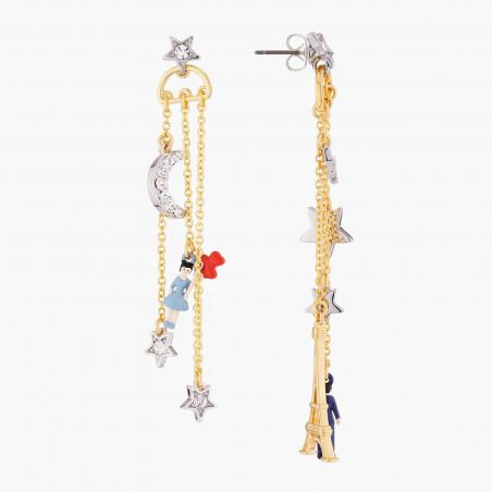 Boucles d'oreilles oiseau, branche de cerisier et verre taillé