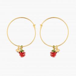 Boucles D'oreilles Creoles Créoles Bouton De Rose Rouge Et Cristal Noir60,00€ WBR109/1Les Néréides