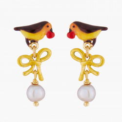 Robin And Pearl Stud Earrings
