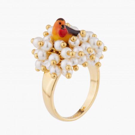Bague 2 anneaux oiseau et fleurs de cerisier