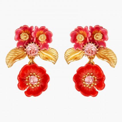 Boucles D'oreilles Pendantes Boucles D'oreilles Tiges Roses Et Feuilles Dorées130,00€ AMAR101T/1Les Néréides