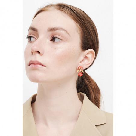 Boucles d'oreilles clip petit singe et verre taillé bleu