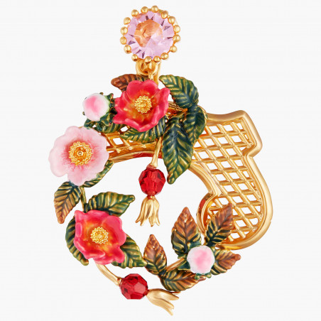 Three-colored stone and golden beads semi rigid bracelet (M)