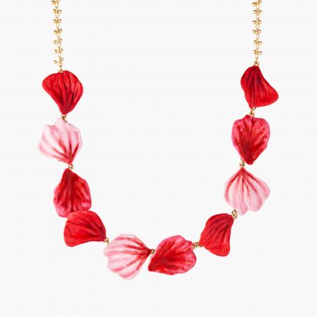 Bague perle bicolore et bouton de rose