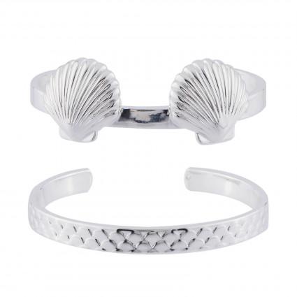 Bracelets Double Bracelet Joncs Coquillages Et Écailles Argentés75,00€ AHJS203/1N2 by Les Néréides