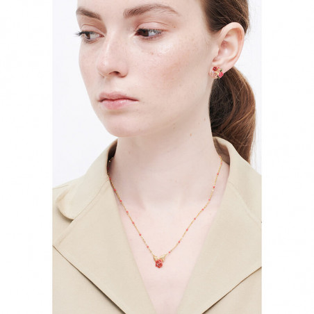 Ballerina paved with hollywood pink crystals necklace
