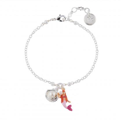 Bracelets Bracelet Petite Sirène Rose Et Coquillage Argenté40,00€ AHJS204/1N2 by Les Néréides