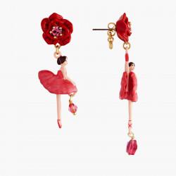 Boucles D'oreilles Pendantes Boucles D'oreilles Tiges Asymétriques Ballerine Et Bouton De Rose90,00€ AMDD108T/1Les Néréides