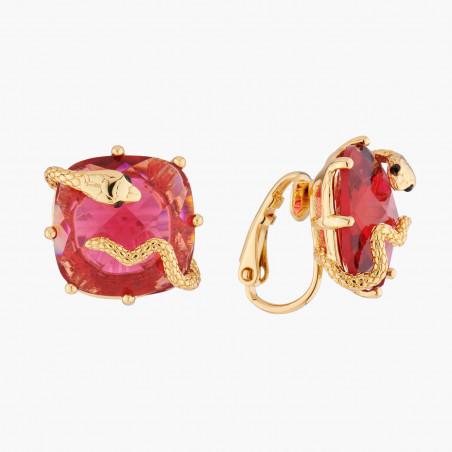 Boucles d'oreilles pierre tricolore, perles dorées et franges de métal