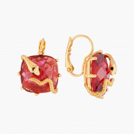Three-colored stone and golden beads semi rigid bracelet (S)