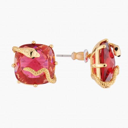Collier pierre tricolore et petites perles dorées