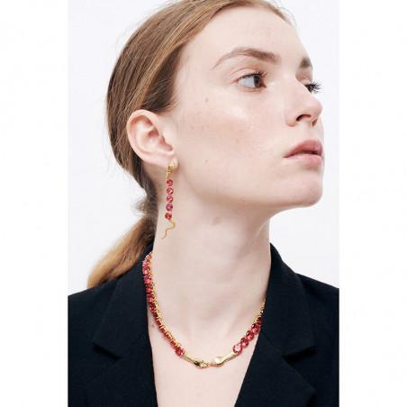 Bague ajustable pierre rose, bande tricolore et perles dorées