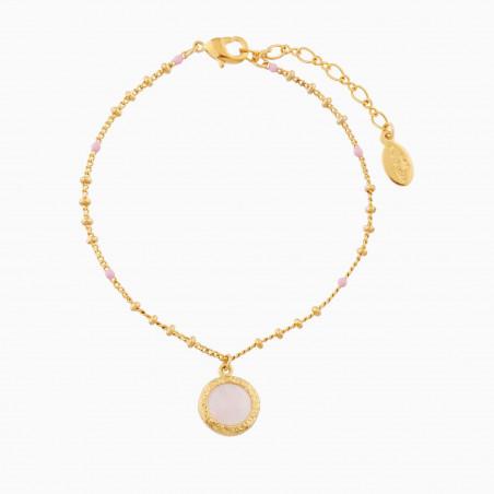 Boucles d'oreilles nœud, bouton de rose et perle bicolore