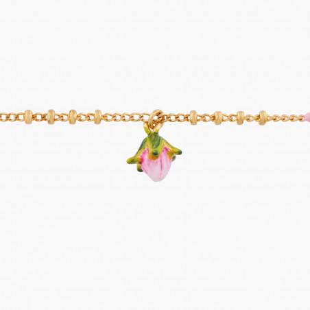 Boucles d'oreilles fleur tropicale et fermoir strassé